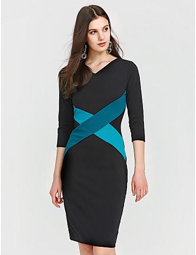女性用 プラスサイズ ワーク コットン スリム ボディコン ドレス カラーブロック パッチワーク 膝丈 ハイライズ Vネック
