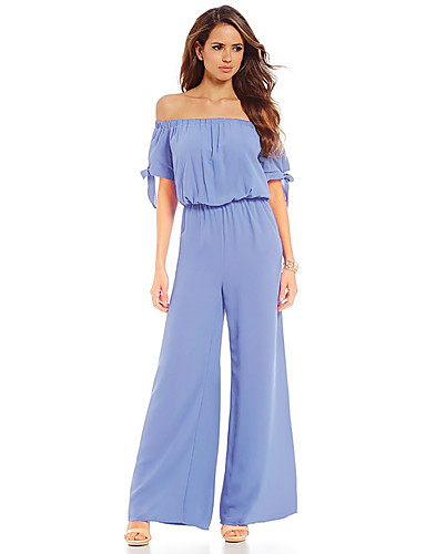 f9b0dbaa00 Women's Off Shoulder Daily / Holiday Street chic Boat Neck Fuchsia Light  Blue Lavender Loose Jumpsuit, Solid Colored L XL XXL High Waist Short  Sleeve Summer