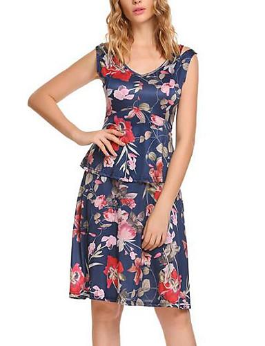 Damskie Moda miejska Linia A Sukienka - Kwiaty Przed kolano