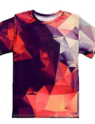 Puszysta T-shirt Męskie Podstawowy Bawełna Okrągły dekolt Kolorowy blok / Krótki rękaw / Długie