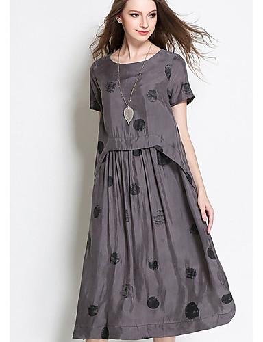 Damskie Podstawowy Sukienka swingowa Sukienka - Geometryczny, Nadruk Midi