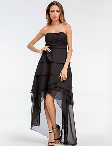 Damskie Wyjściowe Podstawowy Szczupła Linia A / Swing Sukienka - Solidne kolory, Warstwy materiały Bez ramiączek Midi / Lato