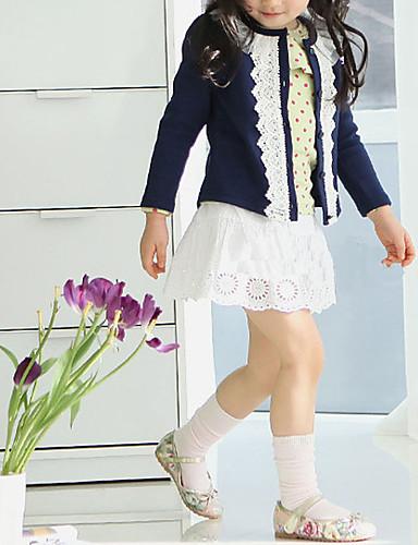Genç Kız Pamuklu Polyester Solid Kış Bahar Sonbahar Uzun Kollu Kazak ve Hırka Çiçek Koyu Mavi Pembe