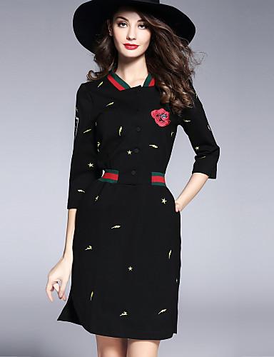 abordables Robes Femme-Femme Travail Basique / Chic de Rue Mini Mince Gaine Robe - Brodée, Fleur Col en V Printemps Noir M L XL Manches 3/4
