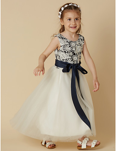 83eeae4fc40 A-Line Tea Length Flower Girl Dress - Lace   Satin   Tulle Sleeveless Scoop  Neck with Bow(s)   Sash   Ribbon by LAN TING BRIDE®