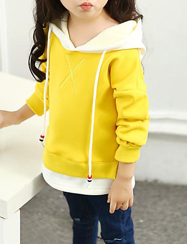 Bluza z kapturem / bluza Bawełna Dla dziewczynek Jendolity kolor Litera Wiosna Jesień Długi rękaw Na co dzień Aktywny Clover Black Yellow