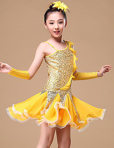 1d8c8e216 Latin Dance Dresses Girls' Training / Performance Polyester Split Joint /  Paillette Sleeveless Natural Hair Jewelry / Dress / Gloves