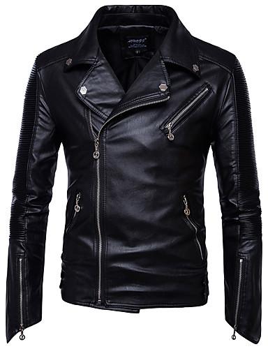 رخيصةأون ملابس خارجية-قطن رجالي أسود XXXL 4XL 5XL جواكيت جلد قياس كبير لون سادة قبعة القميص / كم طويل / الخريف / الشتاء