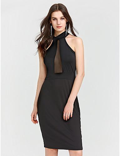 Mulheres Bandagem Moda de Rua Skinny Tubinho Vestido - Vazado Franzido, Sólido Decote V Cintura Alta Acima do Joelho Preto