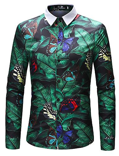 Erkek Gömlek Çiçekli Temel AB / ABD Beden Gökküşağı / Uzun Kollu