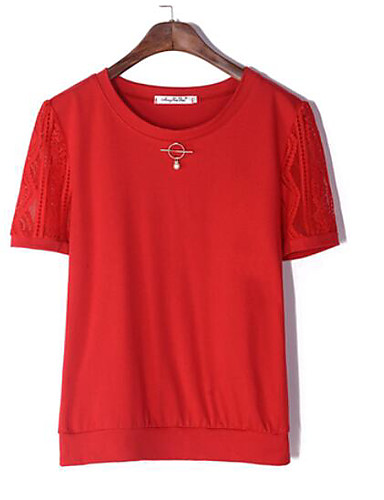 T-shirt Damskie Podstawowy, Nadruk Jendolity kolor