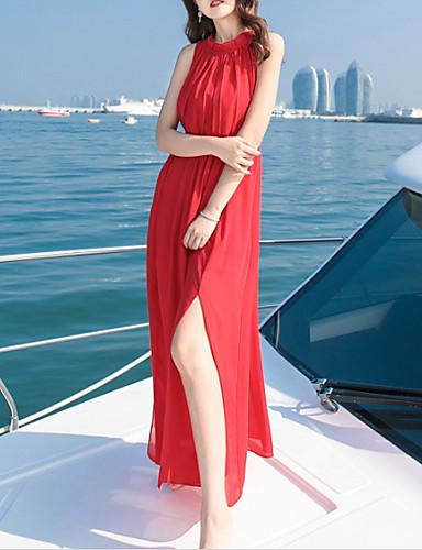 Damskie Wyrafinowany styl Spodnie - Solidne kolory Odkryte plecy Wysoka talia Czerwony / Maxi / Halter / Święto / Wyjściowe