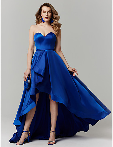 cheap Prom Dresses-Ball Gown Sweetheart Neckline Asymmetrical Satin Cocktail Party / Prom / Formal Evening Dress with Sash / Ribbon by TS Couture®