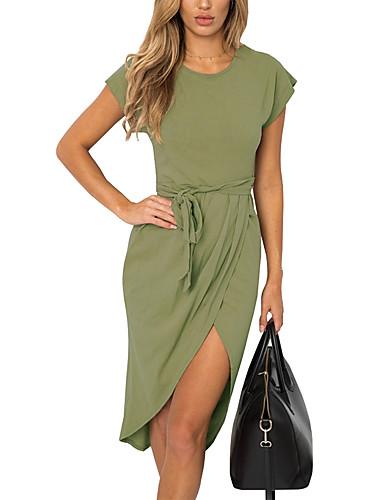 Women's Going out Slim Sheath Dress - Solid Colored High Waist Asymmetrical