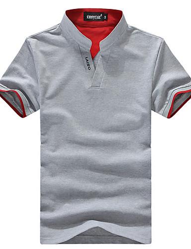 Høj krave Herre - Farveblok Patchwork Basale T-shirt Sort XXL / Kortærmet / Sommer
