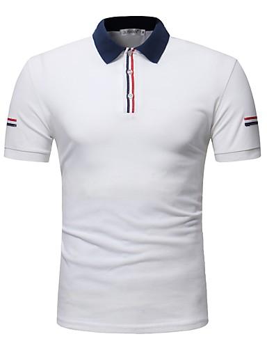 Bărbați Guler Cămașă Polo Bumbac Bloc Culoare / Va rugăm selectați cu o mărime mai mare decât purtați. / Manșon scurt