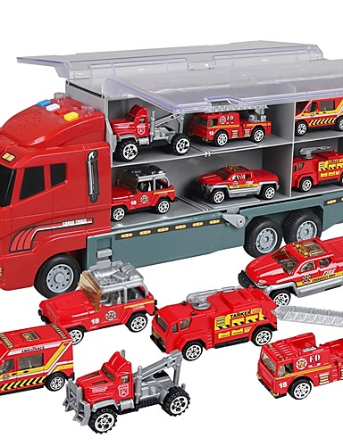 billige Lekebiler i støpejern-Lekebiler Truck Entreprenørmaskiner Brannbil Musik Kjøretøy Glødende Plastskall Barne Gutt Jente Leketøy Gave 7 pcs
