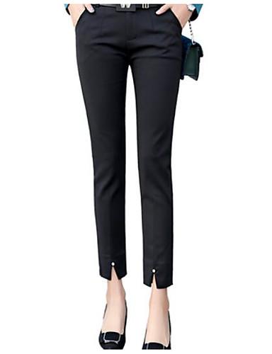 abordables Pantalons Femme-Femme Basique Décontracté / Quotidien Travail Mince Pantalons Pantalon - Couleur Pleine Fendu Noir Rouge Bleu Marine L XL XXL
