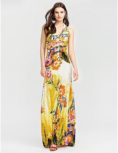 طويل للأرض رقبة V ورد - فستان غمد شاطئ للمرأة