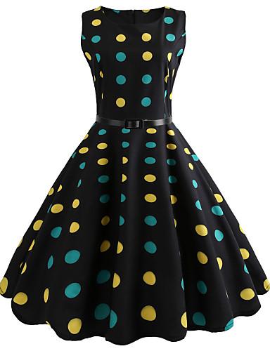 b0fe49bda7b Women s Polka Dot Daily Going out Vintage Slim Swing Dress - Polka Dot  Spring Cotton Black L XL XXL