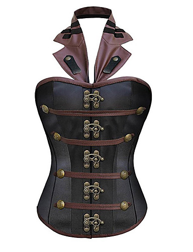 levne Kostýmy z dávných časů-Voják / Bojovník cosplay Steampunk Korzet Dámské Kostým Černá Retro Cosplay Bez rukávů