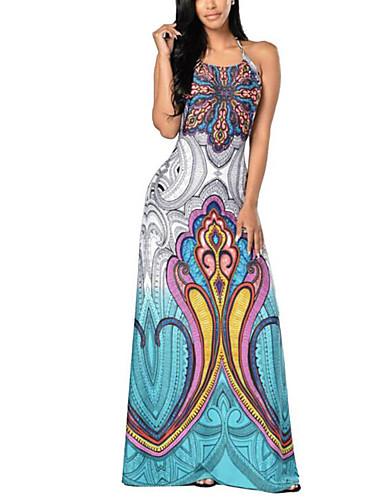 Women's Sheath Dress Print High Rise Maxi Strap