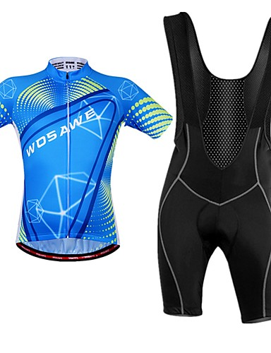 cheap Cycling Clothing-WOSAWE Men's Cycling Jersey with Bib Shorts Royal Blue Dots Bike Bib Shorts Jersey Clothing Suit Breathable Moisture Wicking Reflective Strips Back Pocket Sports Polyester Dots Mountain Bike MTB Road