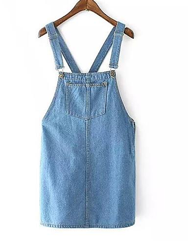 Damskie Wyjściowe Moda miejska Jeans Sukienka - Solidne kolory Pasek Nad kolano