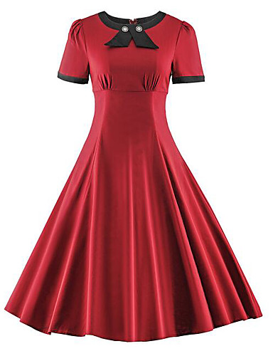 28a35cca7513 Plus Size Daily Vintage Slim Swing Dress Solid Colored Red, Bow Summer  Cotton Blue Red Wine XL XXL XXXL 6615814 2019 – $8.99