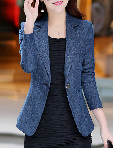 cheap Women's Blazers & Jackets-Women's Daily / Work Basic / Street chic Spring / Fall Plus Size Regular Blazer, Solid Colored Notch Lapel Long Sleeve Polyester / Others Blue XL / XXL / XXXL