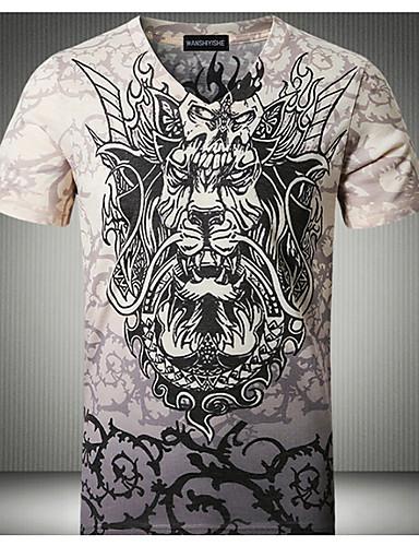 T-shirt Męskie Podstawowy Bawełna W serek Szczupła - Zwierzę / Krótki rękaw
