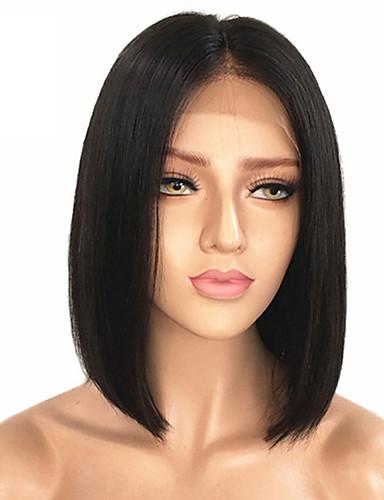 povoljno Perike s ljudskom kosom-Remy kosa Netretirana  ljudske kose Lace Front Perika Bob frizura Srednji dio Kardashian stil Malezijska kosa Ravan kroj Crna Perika 130% Gustoća kose s dječjom kosom Prirodna linija za kosu