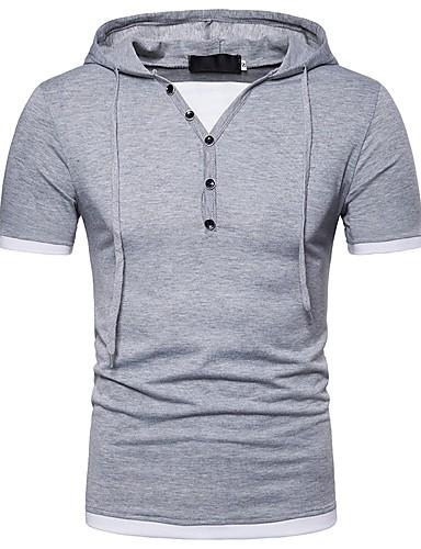 T-shirt Męskie Podstawowy, Patchwork Kaptur Kolorowy blok / Krótki rękaw