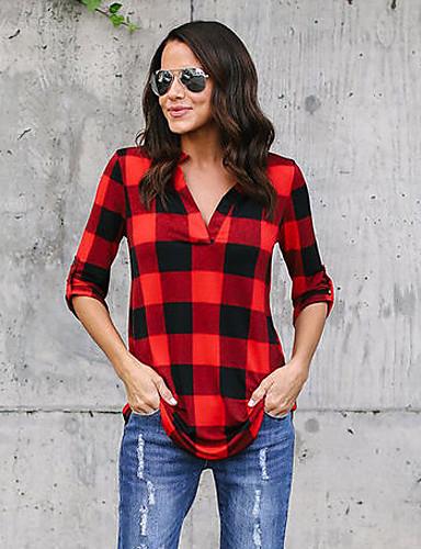 billige Dametopper-Bomull Løstsittende Skjortekrage Skjorte Dame - Fargeblokk / Rutet Gatemote Ferie Grønn / Vår / Høst / Sexy