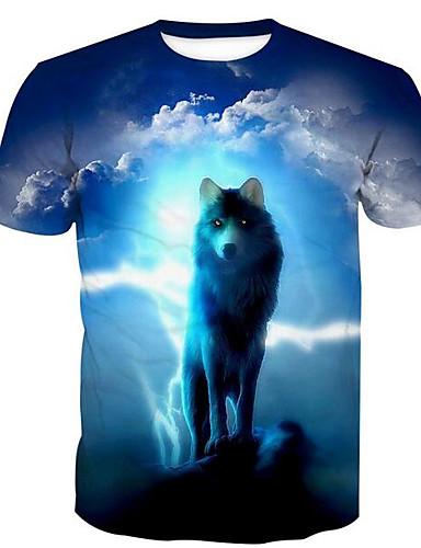 T-shirt Męskie Podstawowy, Nadruk Bawełna Okrągły dekolt Zwierzę Wilk / Krótki rękaw