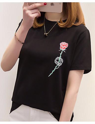 T-shirt Damskie Podstawowy Bawełna Luźna - Jendolity kolor