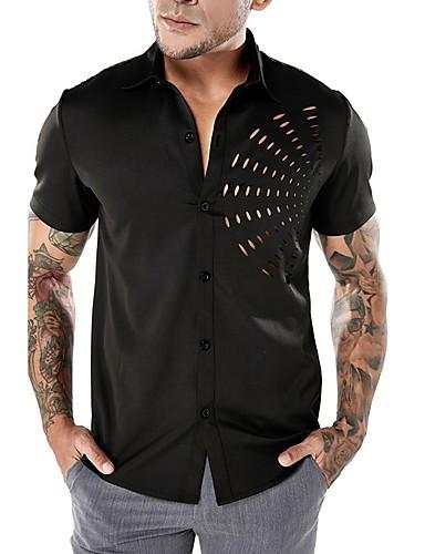 cheap Men's Shirts-Men's Basic / Punk & Gothic Shirt - Solid Colored Cut Out / Short Sleeve