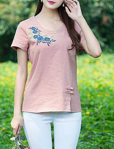 t-shirt damski damski - kwiatowy okrągły dekolt