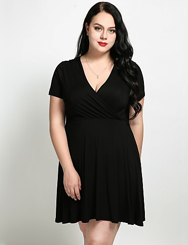 23df6394dad Women s Plus Size Daily   Weekend Basic Slim A Line   Sheath   Skater Dress  - Solid Colored V Neck Summer Black Army Green XXXXL XXXXXL XXXXXXL   Sexy