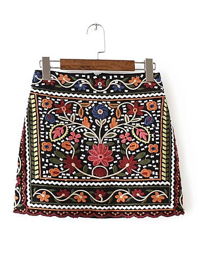 Damskie Urocza Mini Linia A Spódnice - Wyjściowe Kwiaty Wysoka Talia