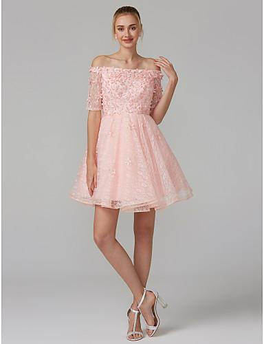 billige Feriekjoler-A-linje Løse skuldre Knelang Blonder Kjole med Paljett / Appliqué av TS Couture®