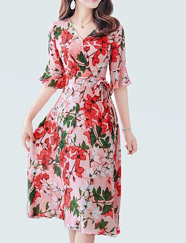 Damskie Moda miejska / Wyrafinowany styl Flare rękawem Pochwa / Sukienka swingowa Sukienka - Kwiaty, Nadruk Midi
