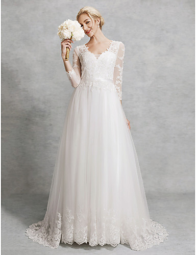 A-Line V Neck Court Train Lace / Tulle Made-To-Measure Wedding Dresses with Appliques / Sashes / Ribbons by LAN TING BRIDE® / Illusion Sleeve / Beautiful Back