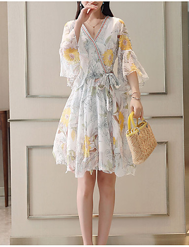 Women's Basic Chinoiserie Flare Sleeve Swing Dress - Floral