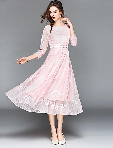 Damskie Vintage / Wyrafinowany styl Linia A / Sukienka swingowa Sukienka - Jendolity kolor, Koronka Maxi