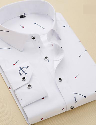 Koszula Męskie Podstawowy Prążki / Geometric Shape / Krótki rękaw / Długi rękaw