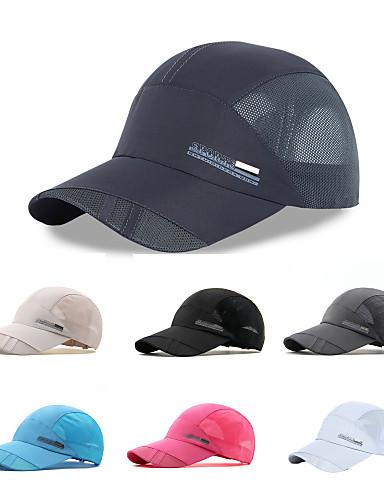 billige Tilbehør-Turcaps Hatt Fort Tørring Pusteevne UV-bestandig Sommer Mørkegrå Unisex Vandring Klatring Reise Ensfarget Voksne / Netting / Mikroelastisk