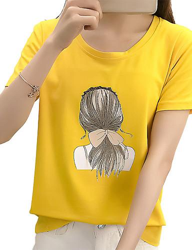 billige Topper til damer-Bomull Flaggermusermer T-skjorte Dame - Ensfarget, Åpen rygg Vintage BLå & Hvit Hvit L