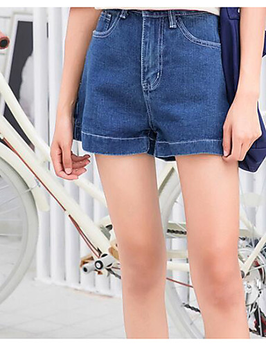 Damskie Aktywny Rozmiar plus Bawełna Krótkie spodnie Spodnie - Plisy, Jendolity kolor Niebiesko-biały