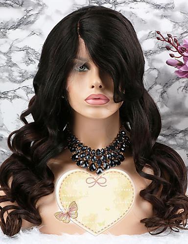 povoljno Perike s ljudskom kosom-Remy kosa Lace Front Perika Stepenasta frizura Rihanna stil Brazilska kosa Wavy Tamnosmeđa Perika 130% Gustoća kose s dječjom kosom Prilagodljiv 100% Djevica Bojanje Žene Kratko Srednja dužina Dug